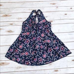 Navy Blue Floral Print Swimsuit